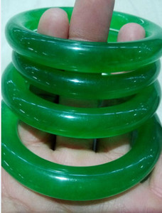 56--59mm IMPRESO VERDE NATURAL JADE BANGLE JADEITE PULSERA CHARM JOYAS B9