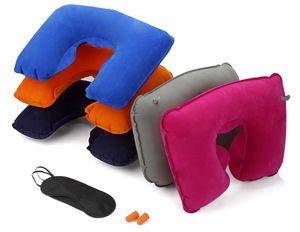 3 en 1 kit de viaje de auto para acampar al aire libre Cuello inflable Almohada cojín + Máscara de sombra de ojos Cegador + 2 Tapones para los oídos