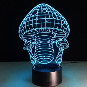 2016 Mantar 3D Optik Illusion Lamba Gece Lambası DC 5 V USB 5th Pil Toptan Dropshipping Ücretsiz Kargo Perakende kutu