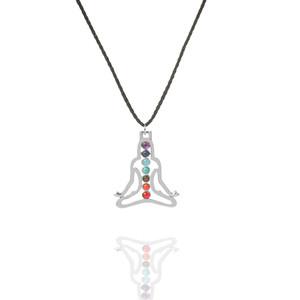 Meditation sieben Perlen natürliche Quarz Edelsteine Stein Anhänger Halskette Yoga Energie Heilung Punkt Chakra Reiki Pendent Halskette 18 Zoll Kette