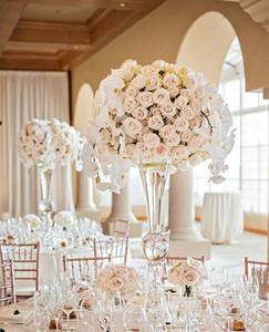 mental mental pas clair) trompette vase mental pour les événements de fête, sliver mental fleur vases pour centres de table de mariage