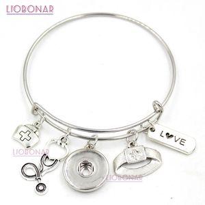 Оптовая Оснастки ювелирные изделия Оснастки кнопка браслет медсестра Шарм браслет регулируемые расширяемые медсестра браслеты ювелирные изделия для медсестра подарки