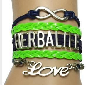 Лучшие продажи Diy очарование новый бесконечность любовь Herbalife браслет - ручной работы Blu с неоновый зеленый кожаный плетеный ретро Strand браслет Браслет подарок