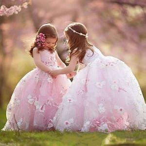 Rose Tulle étage longueur robes de bal robes de fille de fleur belles fleurs appliques petites filles anniversaire Pageant robes robe de première communion