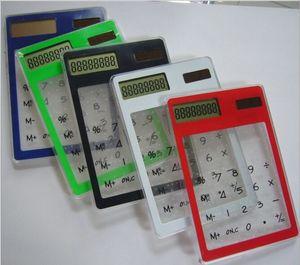 Yaratıcı Hediyeler Mini Hesap Ultra Ince Güneş Enerjisi Dokunmatik Ekran LCD 8 Haneli Kredi Kartı Elektronik Şeffaf Hesaplama