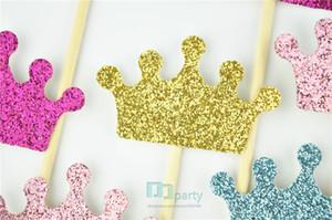 도매 - 왕관 컵케익 toppers, 반짝이 크라운, 공주 파티 장식, 왕자 생일, 핑크와 골드, 사용자 정의 색상, 베이비 샤워
