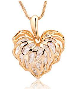 Strass all'interno stile cuore vuoto amore foglie collana lunga collana scintillante zircone maglione catena nuova moda dichiarazione gioielli DHL