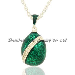 Gioielleria di moda smaltata a mano in stile russo con striscia di cristallo Faberge egg design pendente donna collana con catena