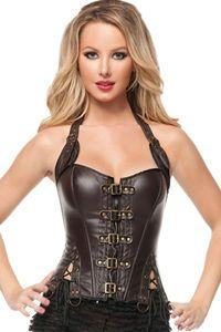 Nueva moda halter corset de cuero Negro cool girl sexy body ohyeah sexy club wear para mujeres ropa de cuero