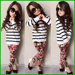 hot selling lovely fashion style girls clothing white black striped long sleeve t-shirt tops floral long embroidery popular girls lenggings