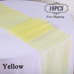 10 Unid / lote Envío Gratis Wedding Table Runner Alta Calidad 30X275 cm Organza de tela de tela de organza de cristal de la bandera para la boda del Hotel boda Decoración