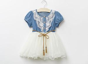 Sommer-Mädchen-Denim-Kleid-Baby-Ballettröckchen-Kleid scherzt Prinzessin Dresses Lace And Gauze Hem With Belt Kinder, die beiläufige Kleider kleiden Freies Verschiffen