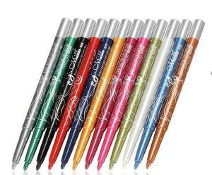 Großhandel Hot 12 Stücke MN Automatische Plasitc Glitter Eyeliner Lipliner 12 Farben Bilden Werkzeug # CZP16