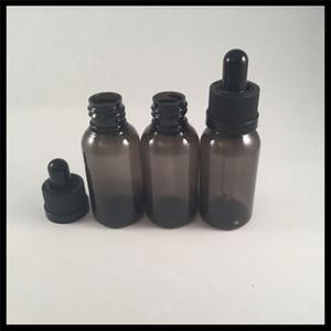 30ML زجاجات القطارة البلاستيكية زجاجات سوداء E مع غطاء يفتحها الاطفال والزجاج شارب ماصة للسجائر الإلكترونية