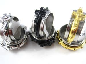 Novo 30 pcs ouro prata preto mens Jesus Cristo Cruz aço inoxidável spinner anéis de jóias por atacado lotes