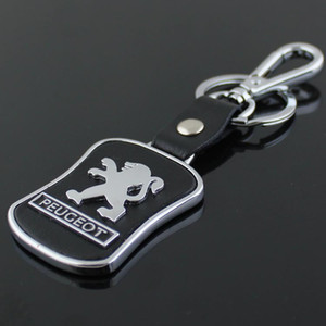 5pcs / lot Top Mode Logo De La Voiture porte-clés Pour Peugeot En Métal En Cuir Porte-Clés Porte-clés anneau Llaveros Chaveiro Voiture Emblème titulaire de la clé