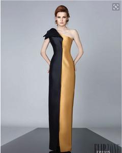 Eine Schulter Satin Zwei Farben Schwarz Und Gold Abendkleider Einfache Mantel Bodenlangen Lange Formale Frauen Party Kleider 2016 Frühling