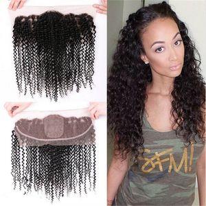 Kinky Bouclés Cheveux Bundles Avec La Soie Base De Dentelle Frontal Partie Libre Cheveux mongol 9A Cheveux Humains Tisse Avec Soie Base Dentelle Frontale