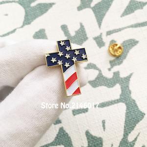 10шт Оптовая американский патриотический религиозные ювелирные изделия эмаль отворотом булавки брошь христианский крест контактный значок с флагом США