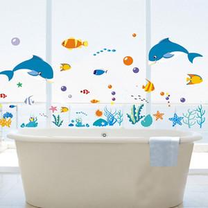 Dolphin Fish Sea World Etiqueta de la pared Ocean Fish Shower Tile Stickers en el baño Baño de la piscina Bañera Bañera Murales de ventana de vidrio