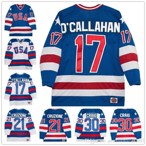 Wholesale 17 Jack O'callahan 30 Jim craig 21 Mike Eruzione 1980 Olympic The Miracle Movie Team USA Hockey Jersey All