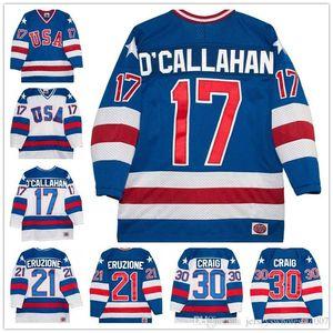En gros 17 Jack O'callahan 30 Jim craig 21 Mike Eruzione 1980 Olympique Le Miracle Film Équipe États-Unis Jersey De Hockey Tous Allés