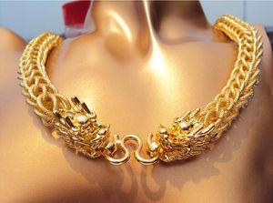 Chunky Thick Chains Collier de bon augure Dragon Pendentif Fine Gold Bizarre Nouvelle super haute qualité allemande, véritable plaqué or Heavy HOT