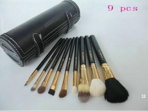 Frete Grátis! New 9 pcs brsuh Definir bolsa de couro Pincel de Maquiagem (1 pçs / lote)