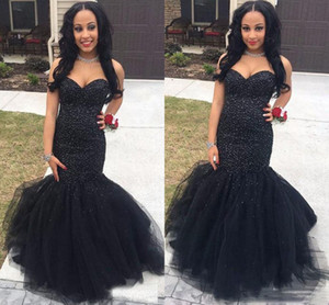Luxury 2k17 Prom Dresses Sweetheart Mermaid Long Floor Length Black Crystal Beaded Tulle Special Evening Dress Party Pageant Formal Gowns
