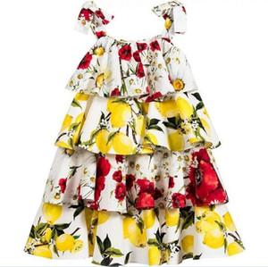 2016 100-150 어린이 소녀 레몬 붉은 꽃 계층화 된 공주님의 정장 드레스 소녀 소녀 Sweety 화 투 드레스 6pcs / lot KB479