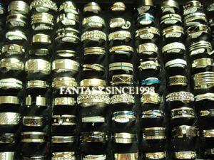 En gros 50 pcs mélangé lot hommes femmes haut bande en acier inoxydable spinner bijoux anneaux taille 16 à 22