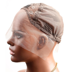 Greatremy Professional Lace Front Wig Caps for Making Wig with Adjustable Straps and Combs Swiss Lace Brown Medium Size