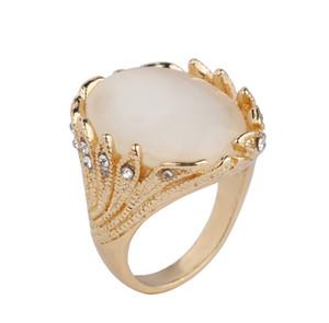 Old Silver Vintage Gems Ringe für Paar Hochzeit Schmuck schwarz weiß gelb rot grün erhältlich Big Cat Eye mit Kristall Frauen Opal Ring