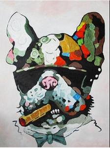 Emoldurado GRANDE CÃO MAFIA A0 SUPERIOR TAMANHO LONA STREET ARTE GRAFFITI BANKSY CIGAR, Handmade Modern Art Deco Pintura A Óleo, Multi tamanhos Disponíveis C000