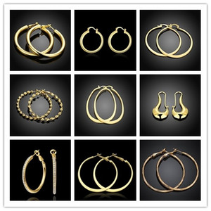 Mixed style hoop earrings 18K gold plated jewelry pretty cool party style top quality free shipping 9pair   lot