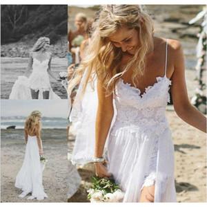 Backless atractivo del espagueti de la gasa de color blanco marfil vestidos de novia largo maxi de bajos ingresos pleno verano 2020 vestidos de boda de la nueva del verano.
