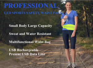 LED Running Belt Waist Pack para Safety USB Sudor recargable y resistente al agua Reflective Waist Fanny Pack Belt Fit para iPhone 7 6S 6 Plu