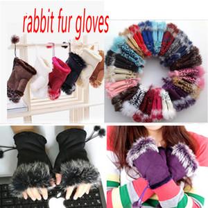 Moda inverno caldo ragazza in pelle coniglio mano caldo inverno inverno guanti senza dita w017