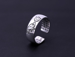 HOT SELLING 100% REAL 925 STERLING SILVER RING BUDDHIST HEART SUTRA OPEN BAND RING FOR MEN CHINESE CHARACTER RING WITH HIGH QUALITY JEWELRY