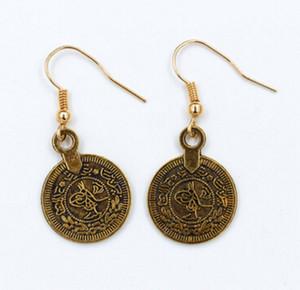 Vendita calda nuovo arrivo anqitue bronzo anqitue argento folk orecchini retrò India Egitto monete antiche nappa orecchini in lega orecchini 2.3 * 1.8 cm