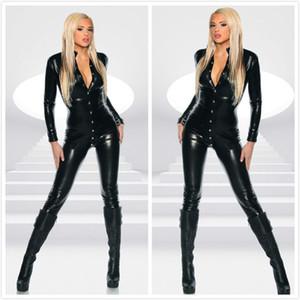 إمرأة أسود فو الجلود ارتداءها مثير طويلة الأكمام bodycon بذلة الشرير برشام زر catsuit صنم catwoman تأثيري حلي