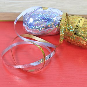 Foil Balloon Ribbon 5mm * 10m Decoración de banquete de boda Rugby Ribbons Globos Wedding Party Birthday Supplies Rollos de huevo Pastel Cuerdas