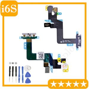 """1 stücke für iphone 6 s plus 5,5 """"zoll power on off schalter steuerung + mikrofon + flash licht flex kabel mit metall bracke ersatzteil"""