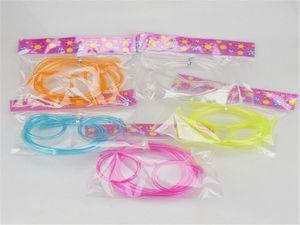 20pcs / lot Livraison gratuite Drôle cadeau de Noël en plastique à boire de la paille Magic lunettes en plastique couleur paille aléatoire