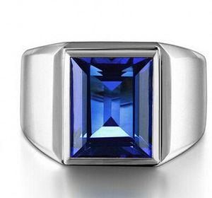 Commercio all'ingrosso - fine Victoria Wieck Men Fashion Jewelry Solitaire Blue Sapphire 925 Sterling Silver Simulato Diamond Wedding Band Anelli