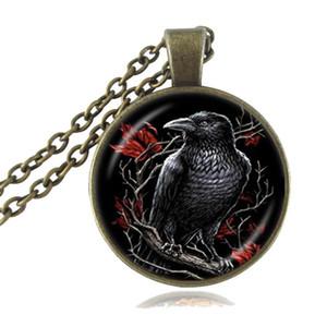 Bird joyería colgante del cuervo gótico del collar del cuervo negro de cristal cabujón de ani collar de regalo del amante Declaración collar con cadena larga