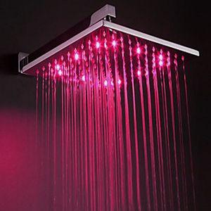 아니 필요 배터리 다채로운 LED 샤워 헤드 스프링 클 러 300x300mm 온도 센서 3 색 변경 욕실 led 조명 꼭지