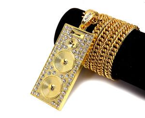 كلاسيكيات الهيب هوب مغني الراب للرجال جودة عالية 18 كيلو مطلية بالذهب الحقيقي الهيب هوب dj رئيس صندوق الصوت المعلقات سلسلة القلائد مجوهرات
