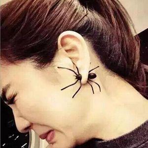 Moda Kadınlar 3D Kulak Manşet Damızlık Punk Tarzı Siyah Örümcek Şekilli Kulak Yüzük Ürpertici Küpe