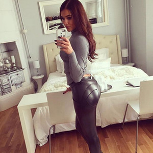 New Trendy Autumn Women Biker Skinny Leather Pants Trousers Leggings Black Slim Fashion Women Long Pants S--XL